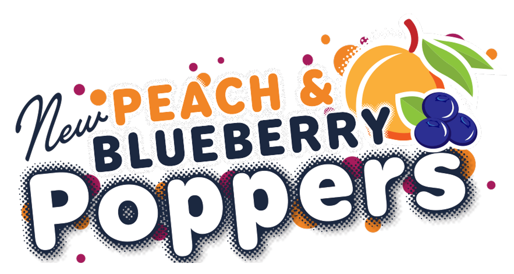 New Peach and Blueberry Poppers. Try on Lemonades and Mini Shakes.