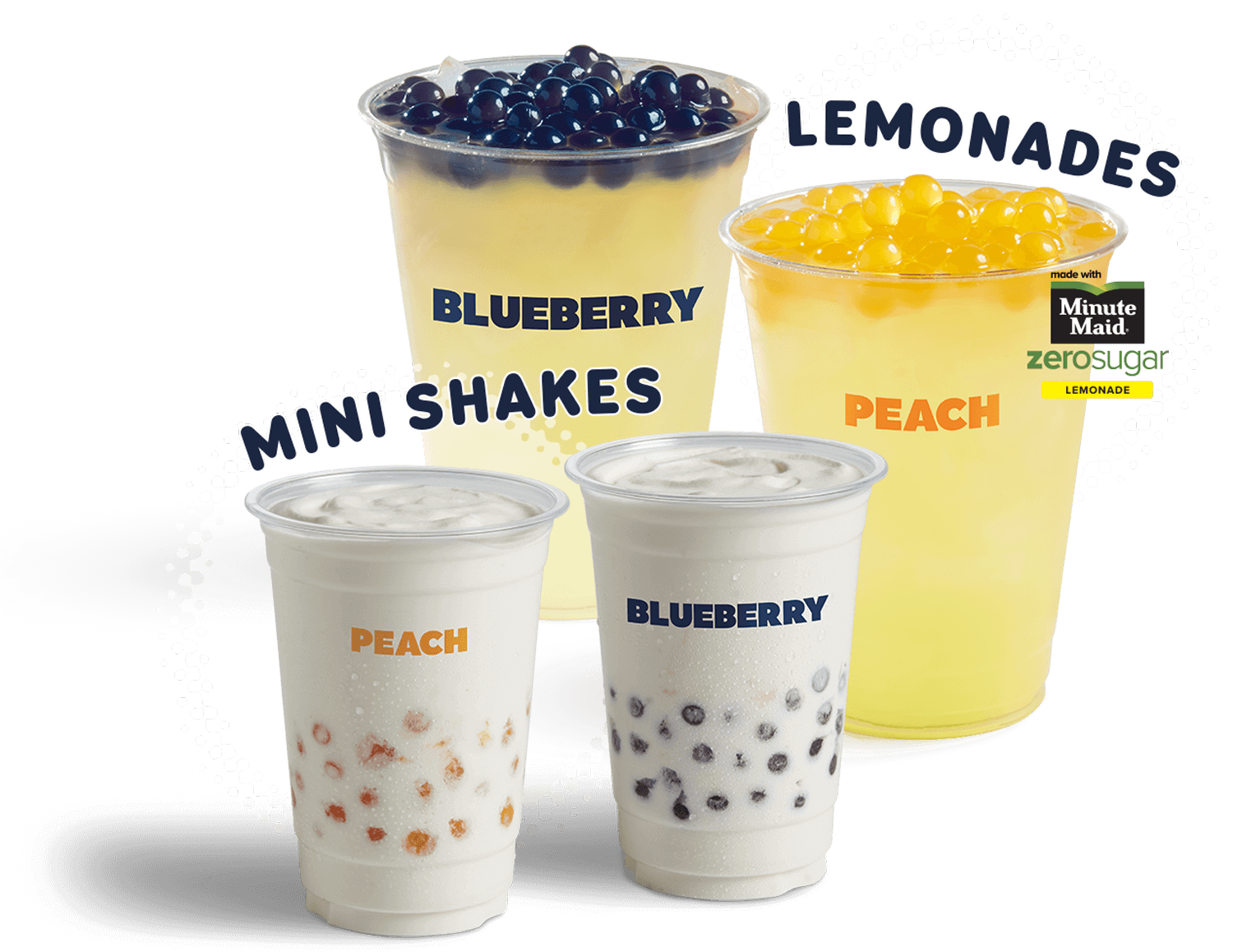 Peach and Blueberry Poppers Lemonades and Mini Shakes
