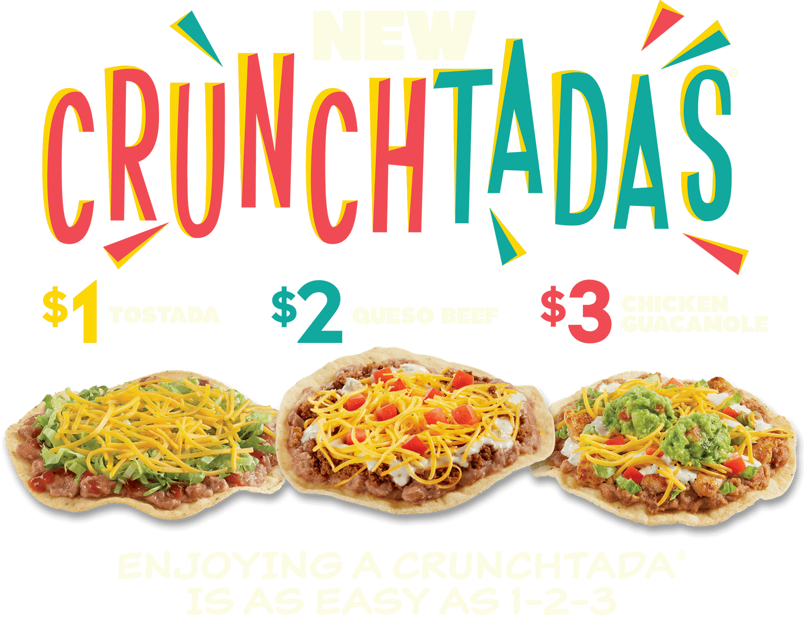 Try Our New New Crunchtadas! $1 Tostada, $2 Queso Beef, $3 Chicken Guacamole. Click Here to Find a Del Taco Location. Enjoying a Crunchtada is as easy as 1-2-3